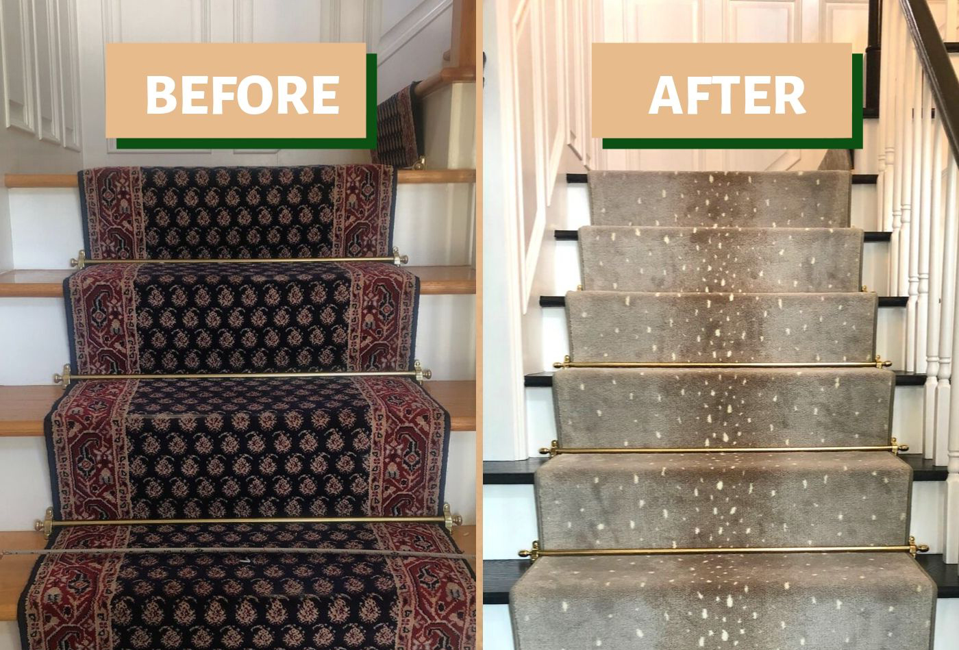 before and after stair runner